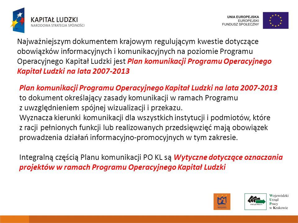 Najważniejszym dokumentem krajowym regulującym kwestie dotyczące obowiązków informacyjnych i komunikacyjnych na poziomie Programu Operacyjnego Kapitał Ludzki jest Plan komunikacji Programu Operacyjnego Kapitał Ludzki na lata 2007-2013