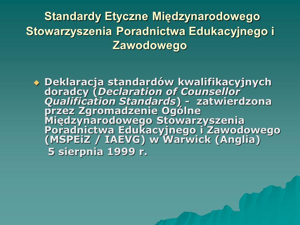 Standardy Etyczne Międzynarodowego Stowarzyszenia Poradnictwa Edukacyjnego i Zawodowego