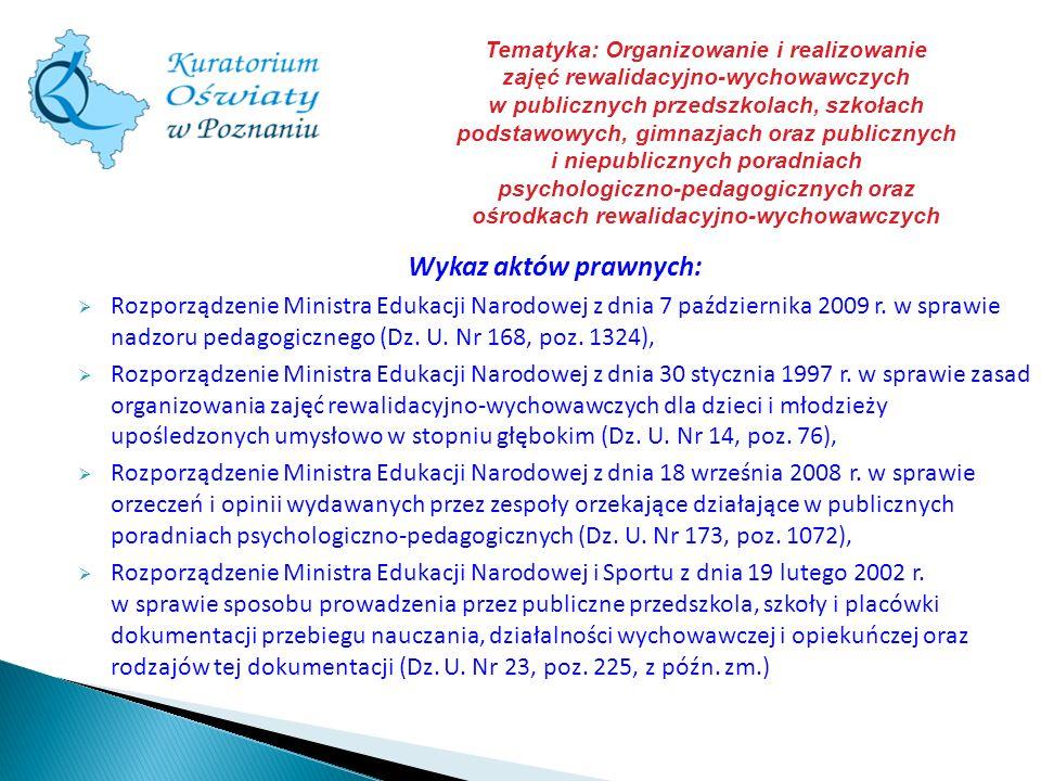 Tematyka: Organizowanie i realizowanie zajęć rewalidacyjno-wychowawczych w publicznych przedszkolach, szkołach podstawowych, gimnazjach oraz publicznych i niepublicznych poradniach psychologiczno-pedagogicznych oraz ośrodkach rewalidacyjno-wychowawczych