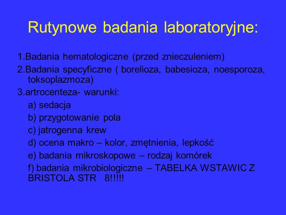 Rutynowe badania laboratoryjne: