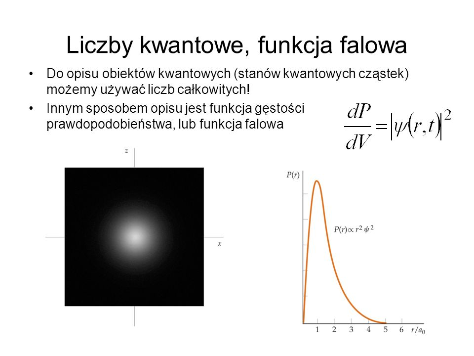 Liczby kwantowe, funkcja falowa