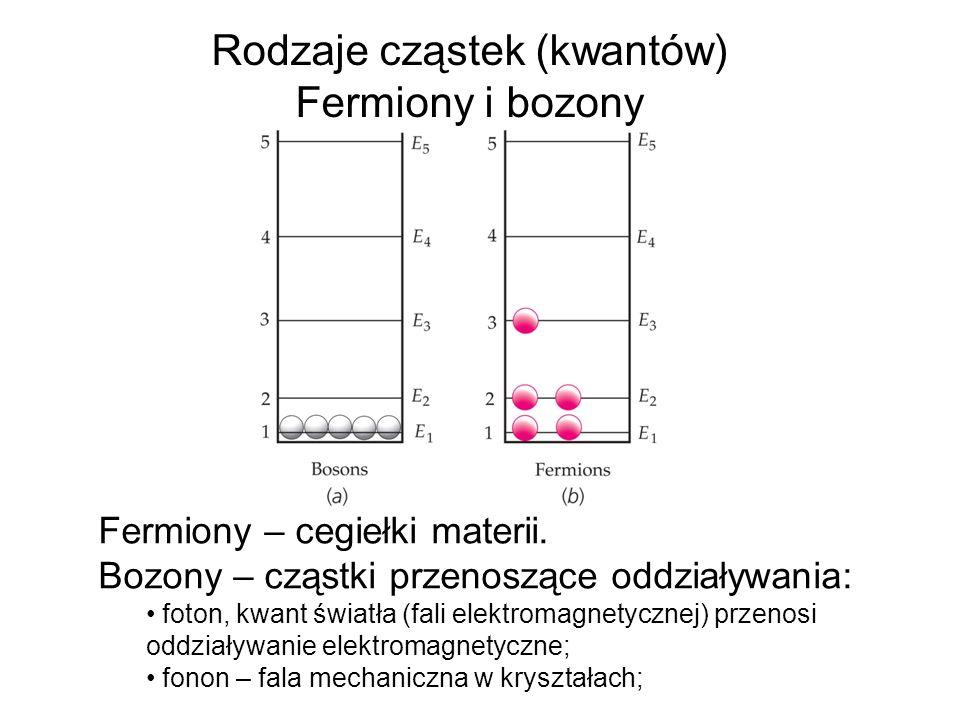 Rodzaje cząstek (kwantów) Fermiony i bozony