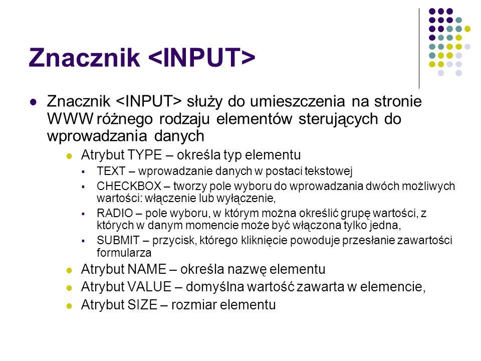 Znacznik <INPUT>