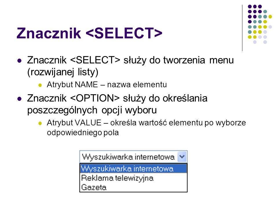 Znacznik <SELECT>