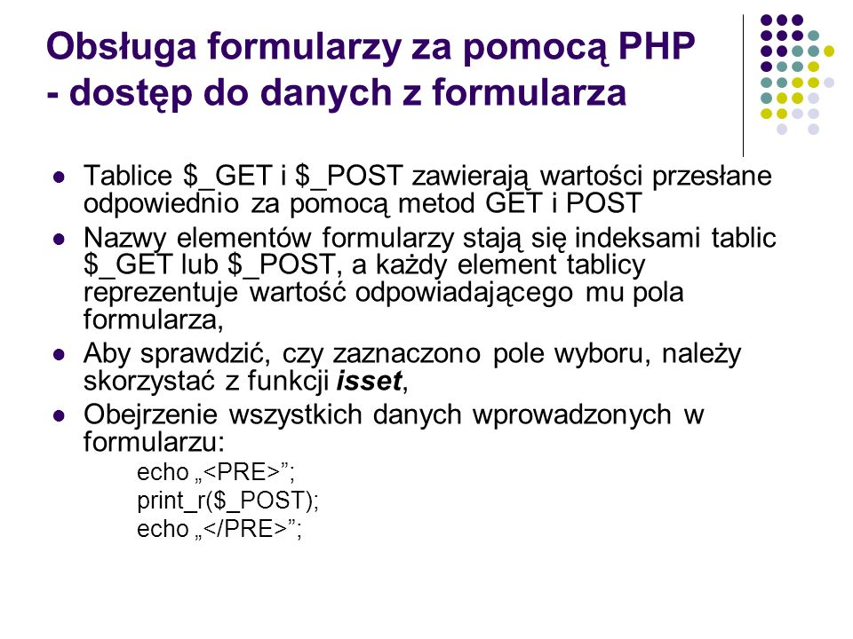 Obsługa formularzy za pomocą PHP - dostęp do danych z formularza