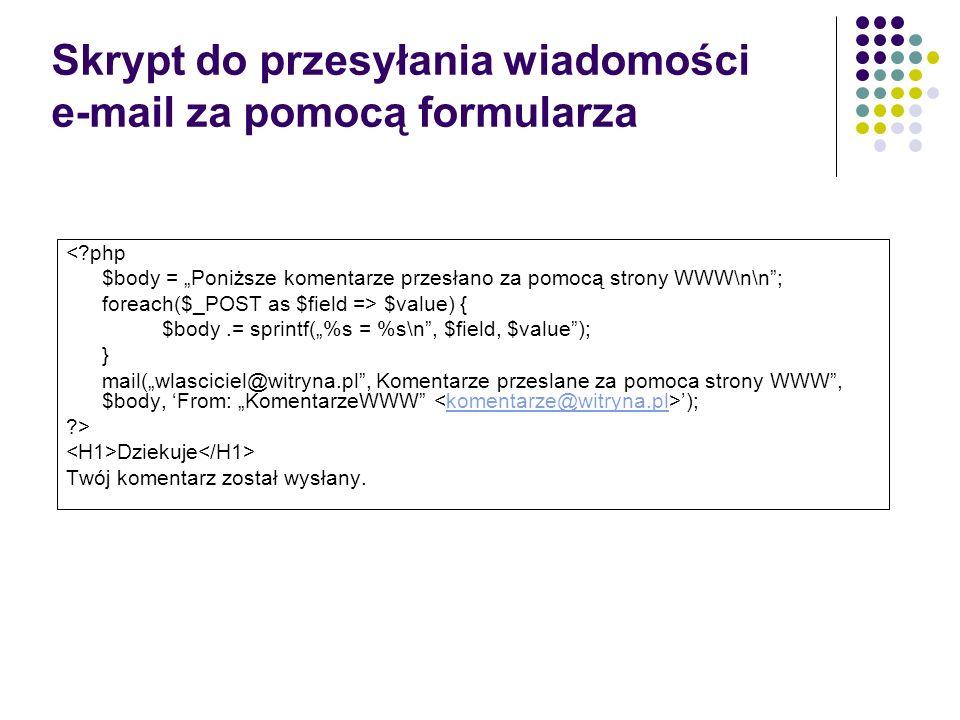 Skrypt do przesyłania wiadomości e-mail za pomocą formularza