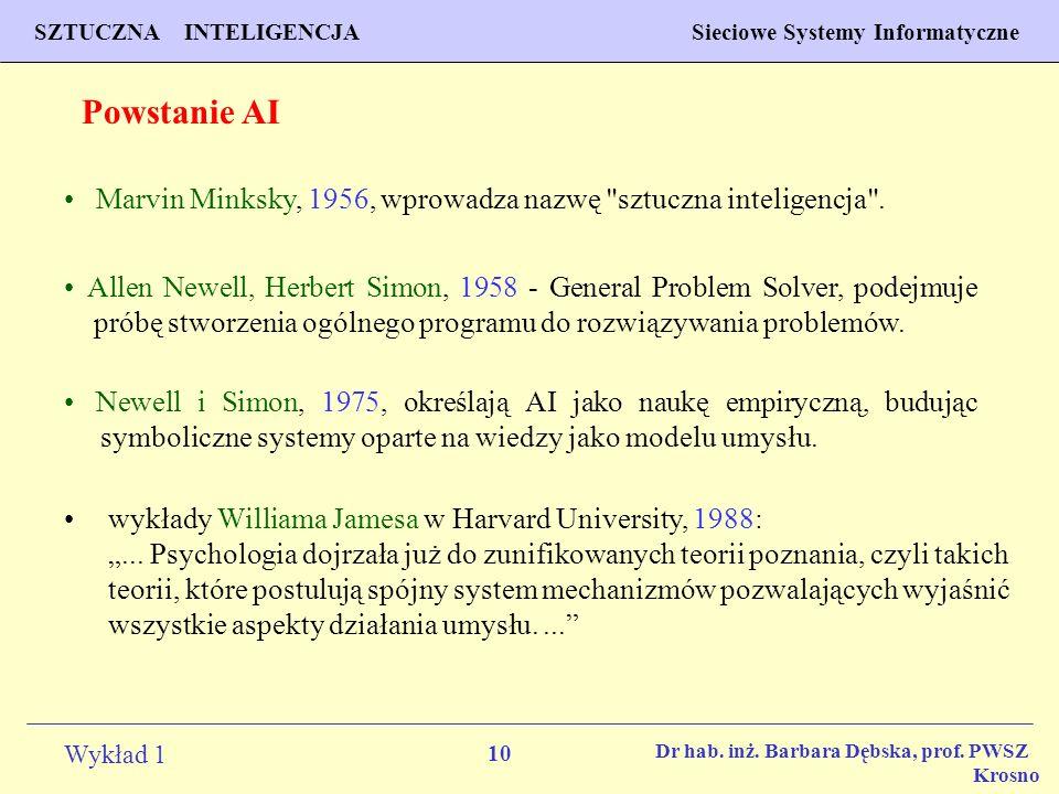 Powstanie AI Marvin Minksky, 1956, wprowadza nazwę sztuczna inteligencja .