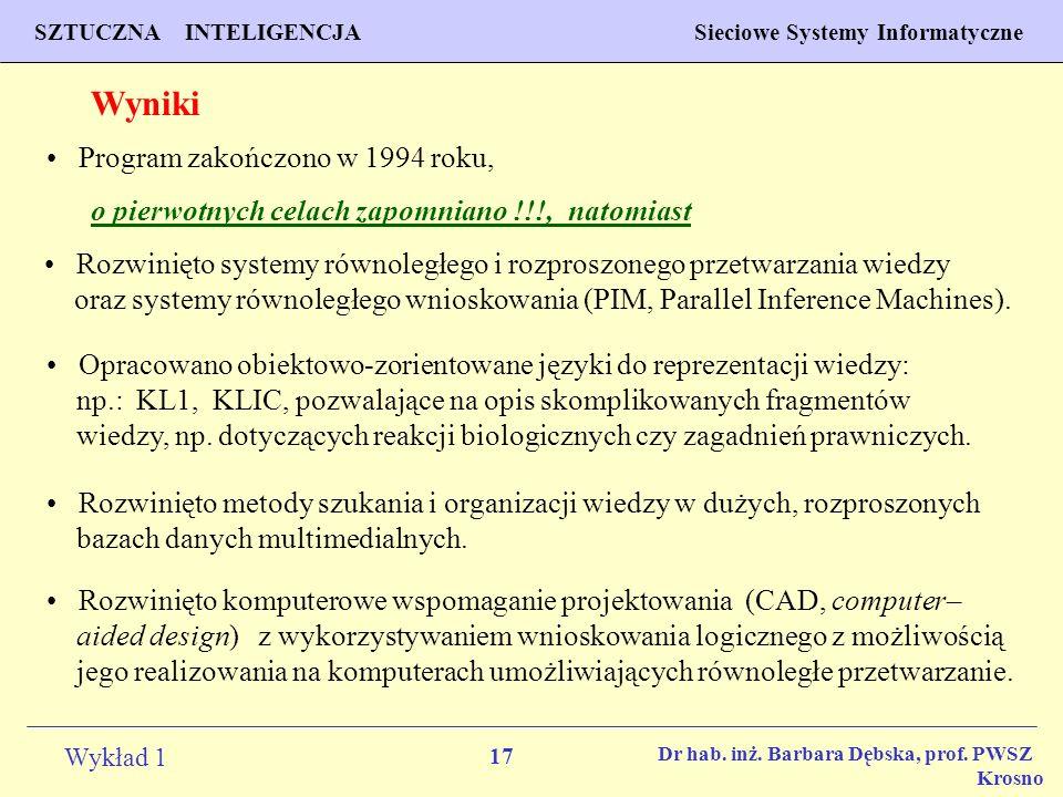Wyniki Program zakończono w 1994 roku,