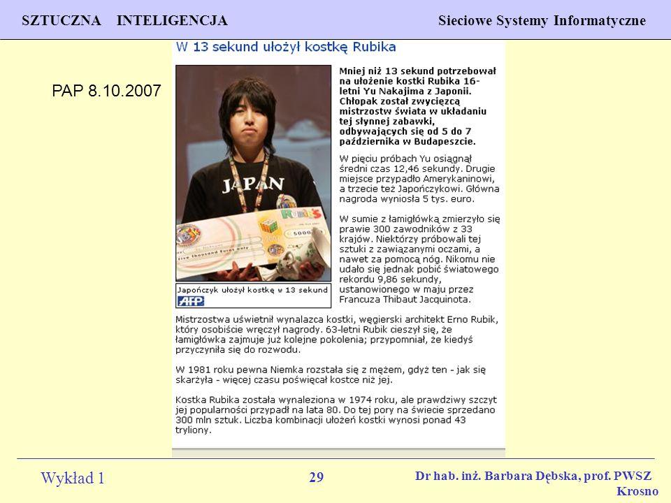 PAP 8.10.2007 Dr hab. inż. Barbara Dębska, prof. PWSZ Krosno