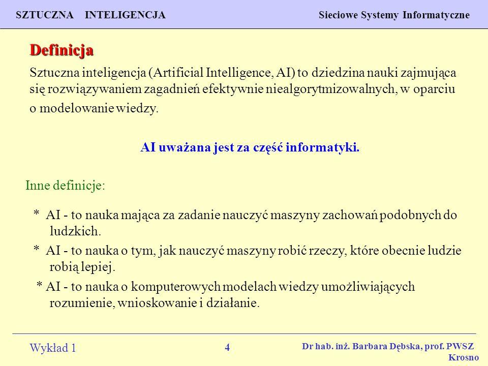 AI uważana jest za część informatyki.