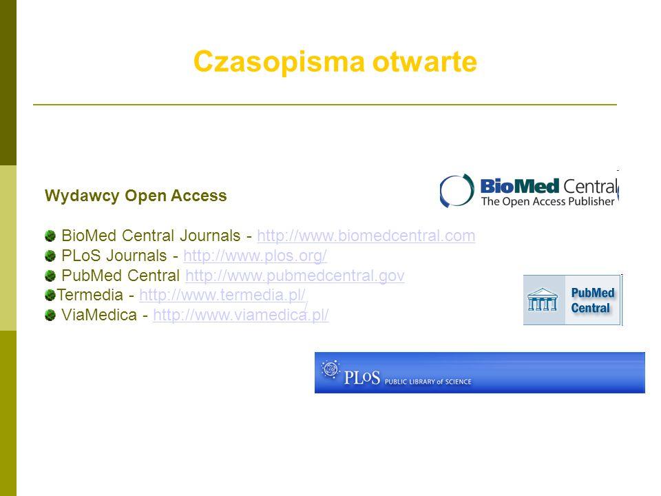 Czasopisma otwarte Wydawcy Open Access