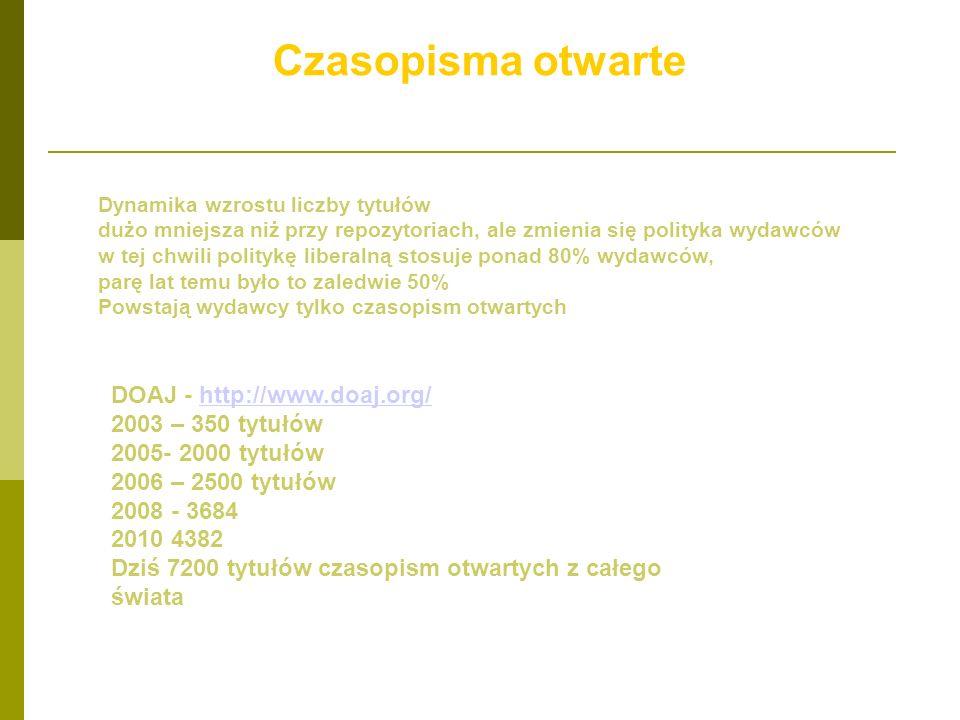 Czasopisma otwarte DOAJ - http://www.doaj.org/ 2003 – 350 tytułów