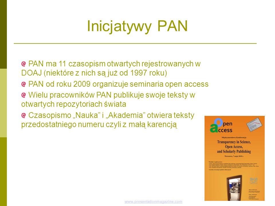 Inicjatywy PAN PAN ma 11 czasopism otwartych rejestrowanych w DOAJ (niektóre z nich są już od 1997 roku)