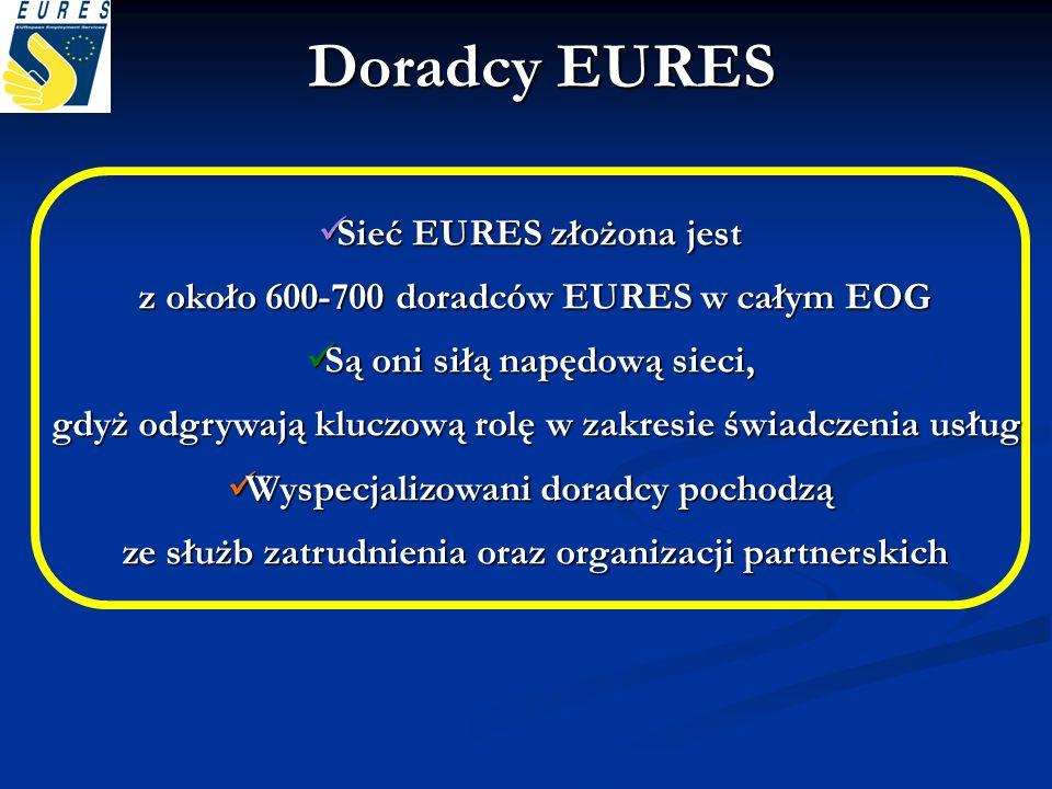 Sieć EURES złożona jest z około 600-700 doradców EURES w całym EOG