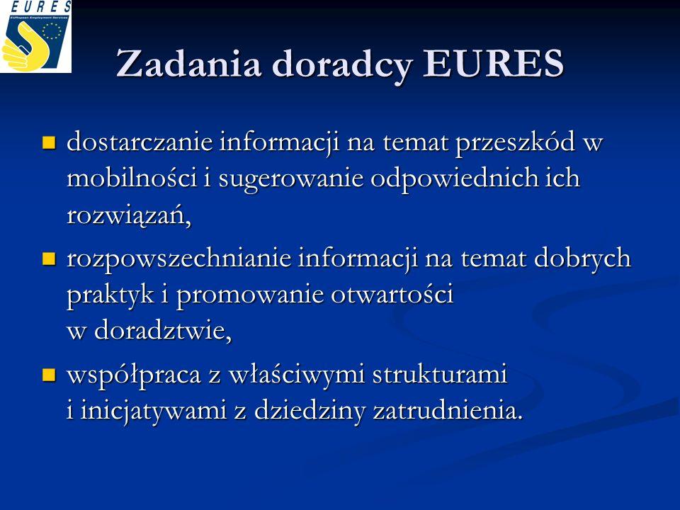 Zadania doradcy EURES dostarczanie informacji na temat przeszkód w mobilności i sugerowanie odpowiednich ich rozwiązań,