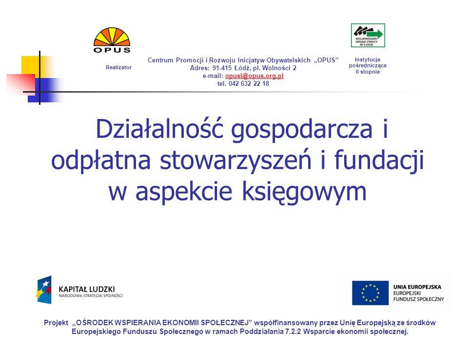 """Realizator Centrum Promocji i Rozwoju Inicjatyw Obywatelskich """"OPUS Adres: 91-415 Łódź, pl. Wolności 2."""