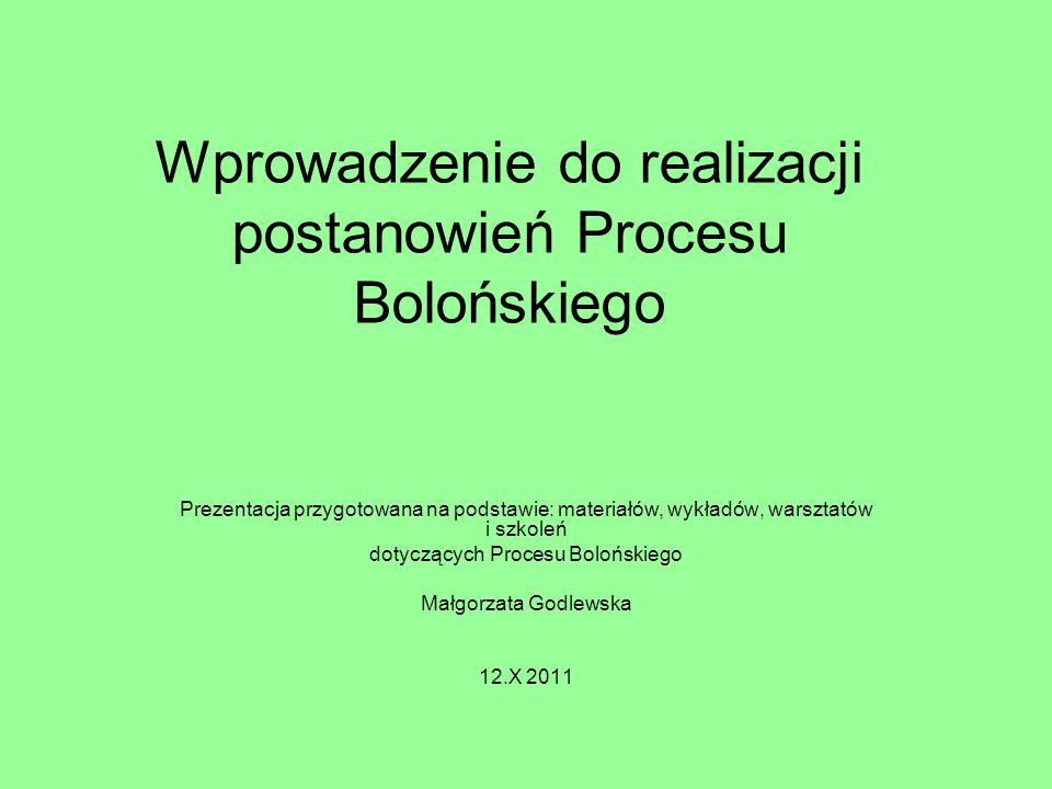 Wprowadzenie do realizacji postanowień Procesu Bolońskiego
