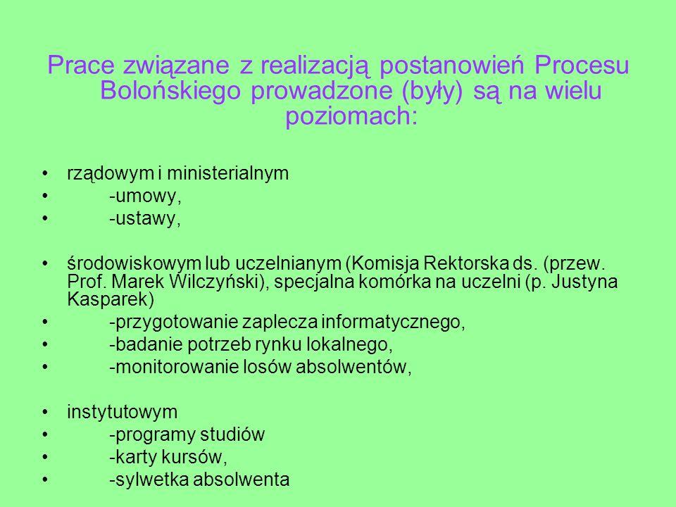 Prace związane z realizacją postanowień Procesu Bolońskiego prowadzone (były) są na wielu poziomach: