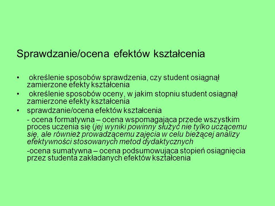 Sprawdzanie/ocena efektów kształcenia