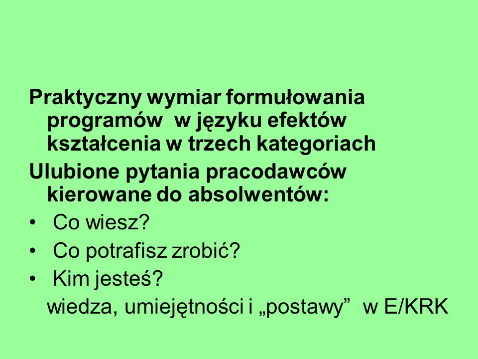Praktyczny wymiar formułowania programów w języku efektów kształcenia w trzech kategoriach