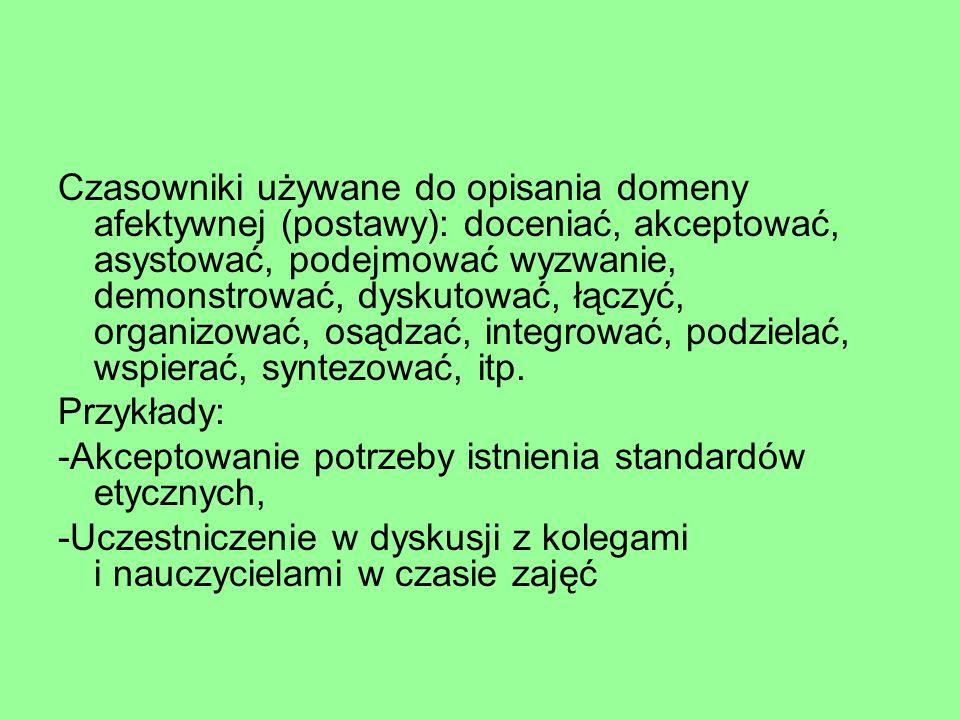 Czasowniki używane do opisania domeny afektywnej (postawy): doceniać, akceptować, asystować, podejmować wyzwanie, demonstrować, dyskutować, łączyć, organizować, osądzać, integrować, podzielać, wspierać, syntezować, itp.