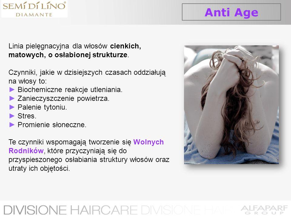Anti AgeLinia pielęgnacyjna dla włosów cienkich, matowych, o osłabionej strukturze. Czynniki, jakie w dzisiejszych czasach oddziałują na włosy to: