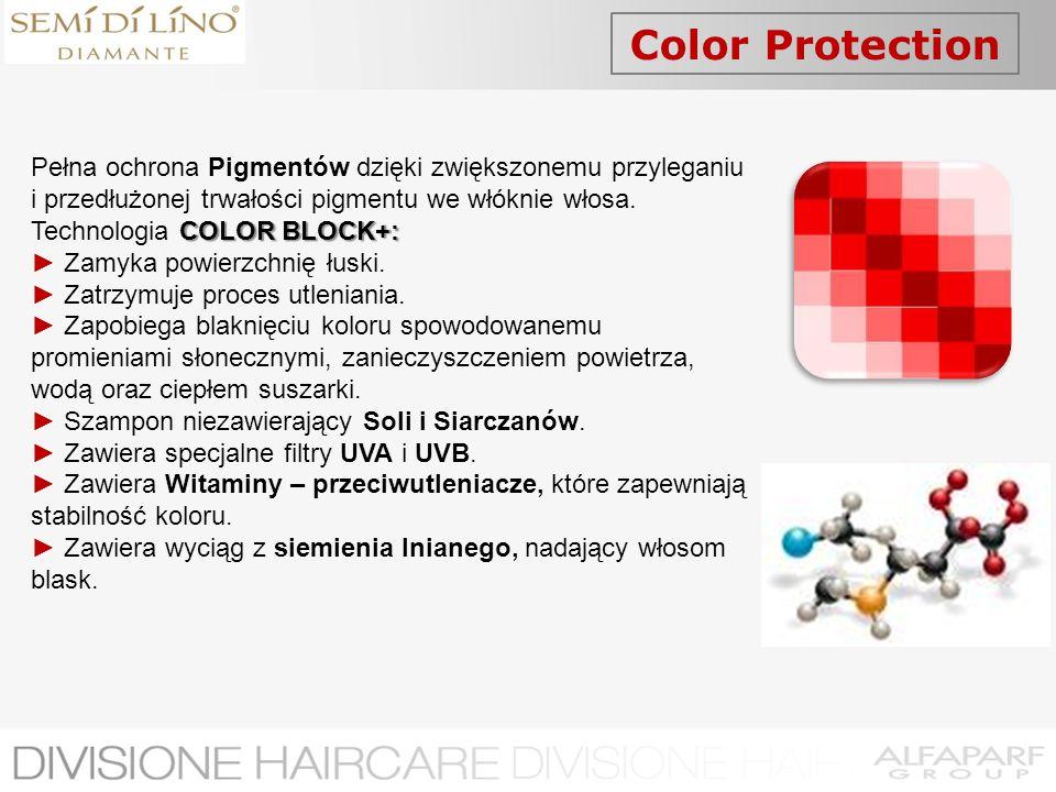 Color Protection Pełna ochrona Pigmentów dzięki zwiększonemu przyleganiu i przedłużonej trwałości pigmentu we włóknie włosa.