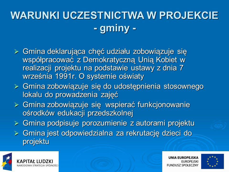 WARUNKI UCZESTNICTWA W PROJEKCIE - gminy -