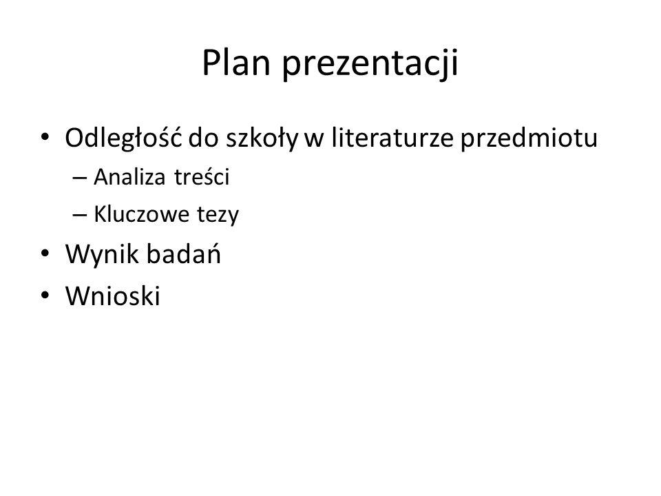 Plan prezentacji Odległość do szkoły w literaturze przedmiotu