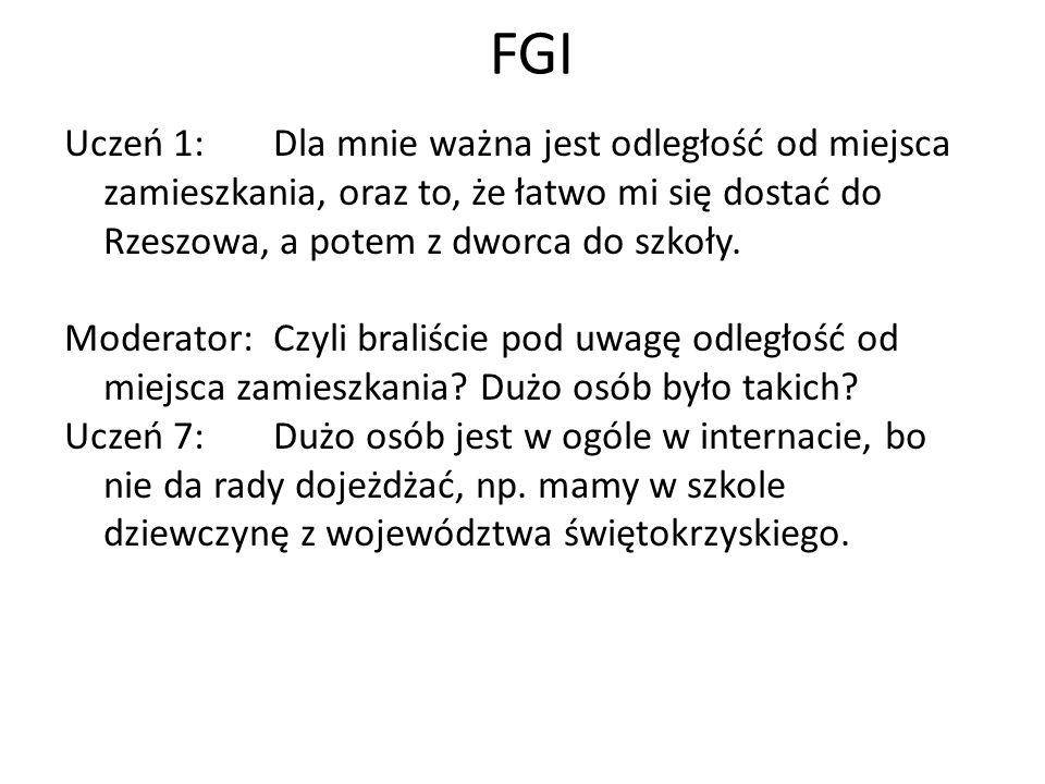 FGI Uczeń 1: Dla mnie ważna jest odległość od miejsca zamieszkania, oraz to, że łatwo mi się dostać do Rzeszowa, a potem z dworca do szkoły.