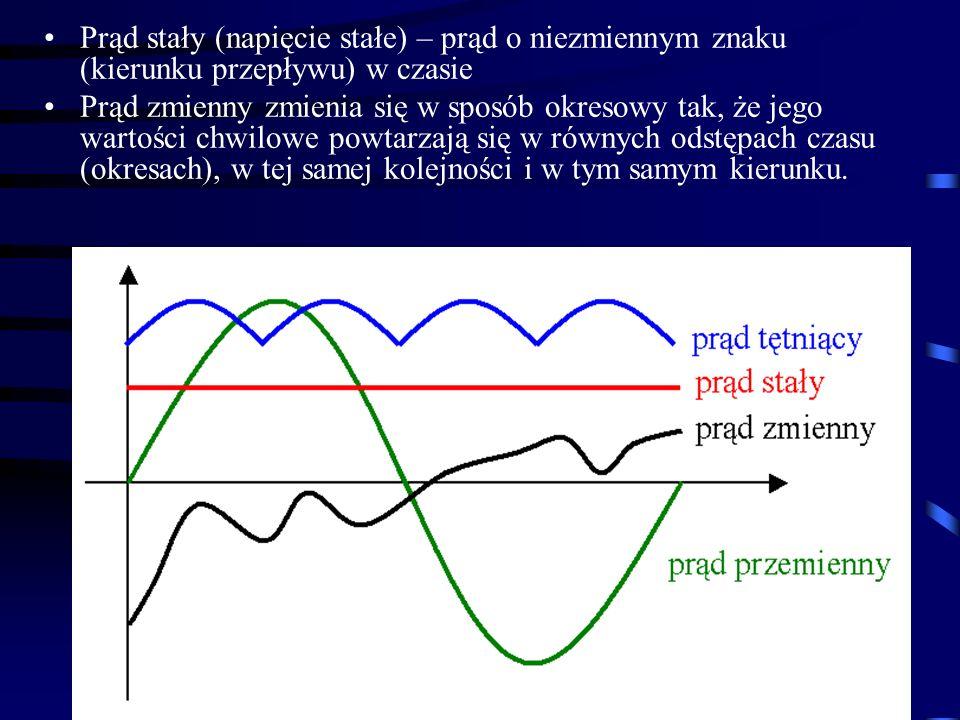 Prąd stały (napięcie stałe) – prąd o niezmiennym znaku (kierunku przepływu) w czasie
