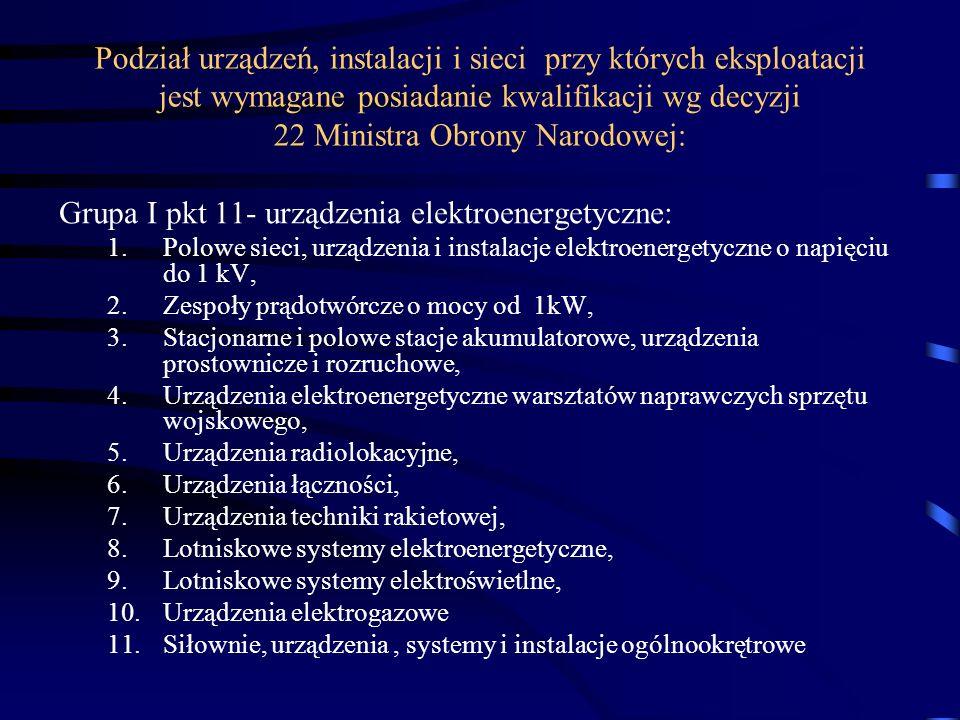 Grupa I pkt 11- urządzenia elektroenergetyczne:
