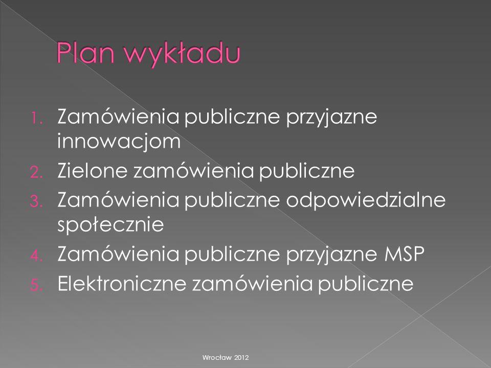 Plan wykładu Zamówienia publiczne przyjazne innowacjom