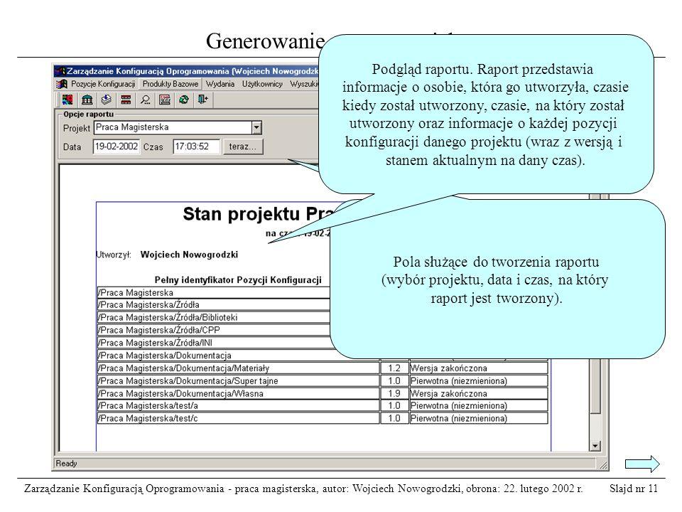 Generowanie statusu projektu