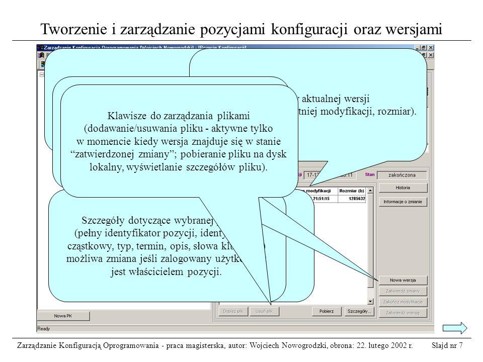 Tworzenie i zarządzanie pozycjami konfiguracji oraz wersjami