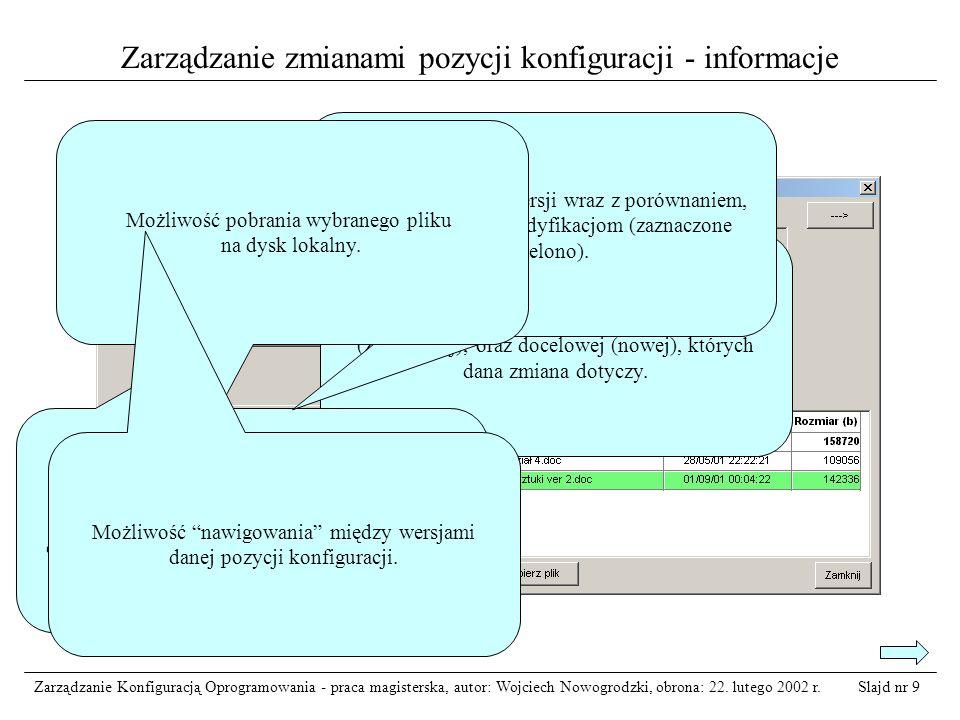 Zarządzanie zmianami pozycji konfiguracji - informacje