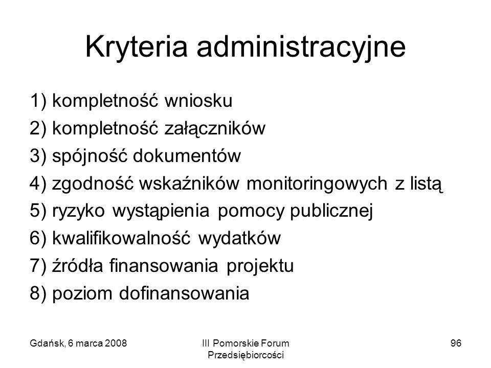 Kryteria administracyjne