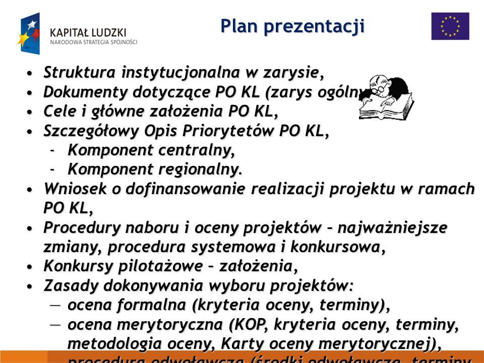 Plan prezentacji Struktura instytucjonalna w zarysie,