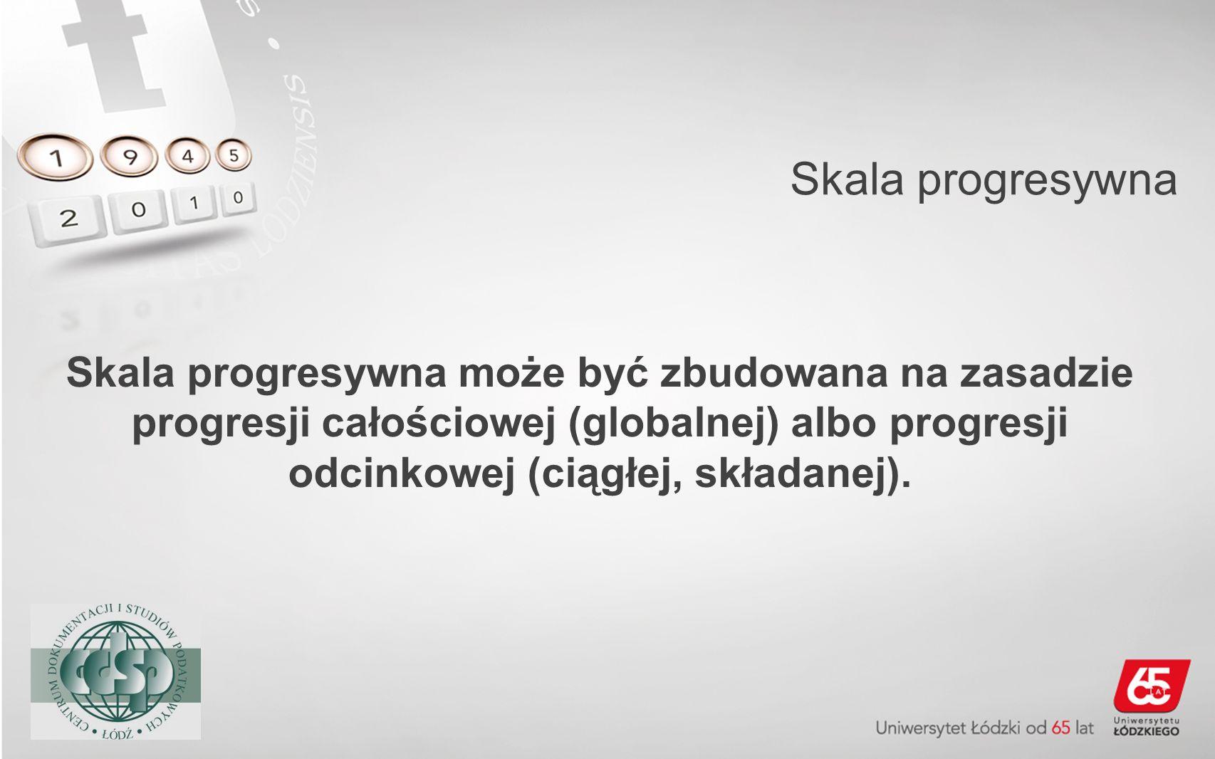 Skala progresywnaSkala progresywna może być zbudowana na zasadzie progresji całościowej (globalnej) albo progresji odcinkowej (ciągłej, składanej).