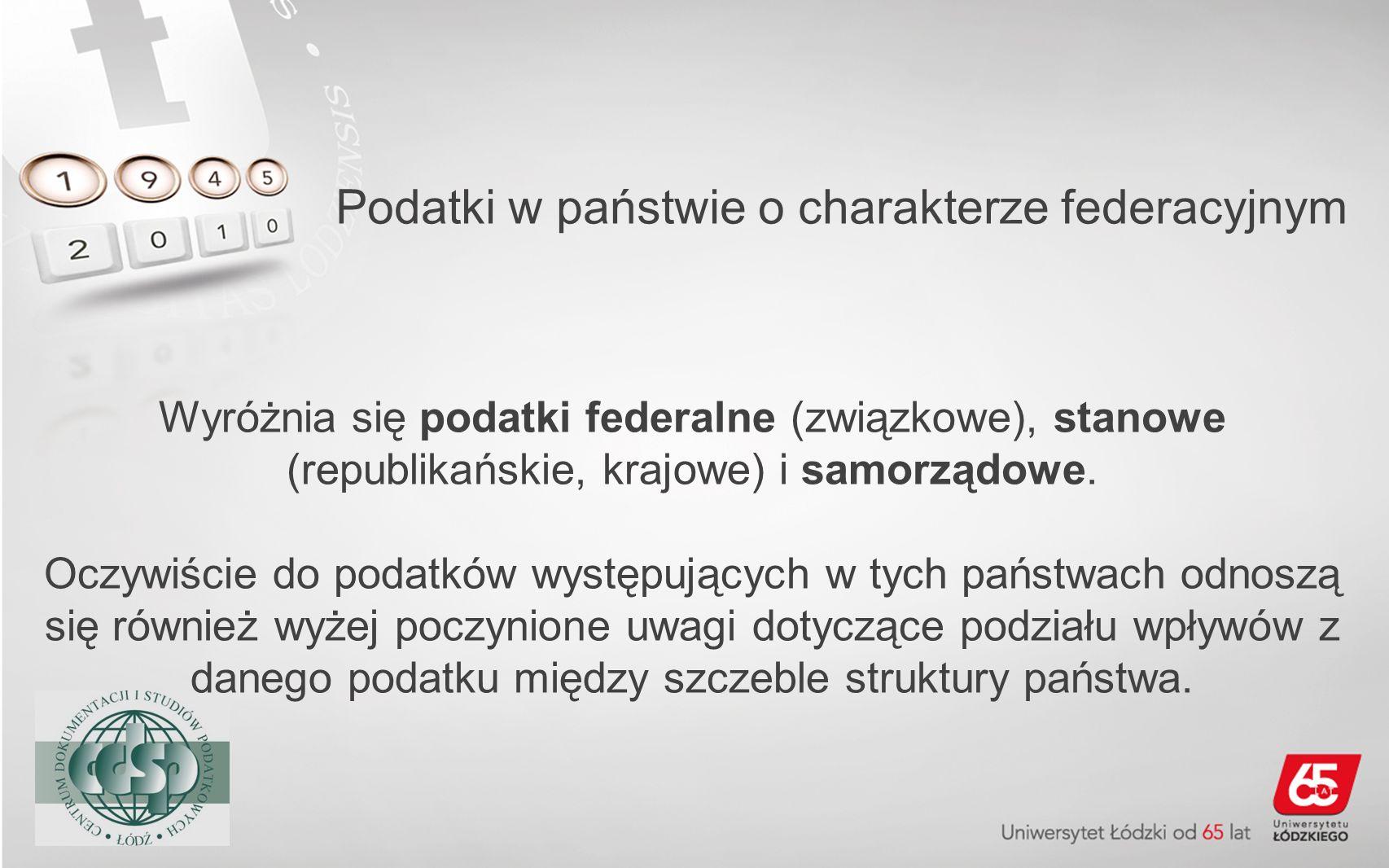 Podatki w państwie o charakterze federacyjnym