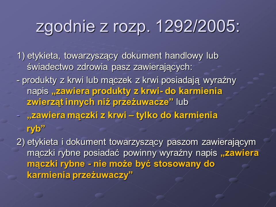 zgodnie z rozp. 1292/2005: 1) etykieta, towarzyszący dokument handlowy lub świadectwo zdrowia pasz zawierających: