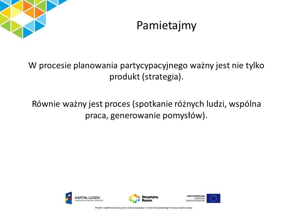 Pamietajmy W procesie planowania partycypacyjnego ważny jest nie tylko produkt (strategia).