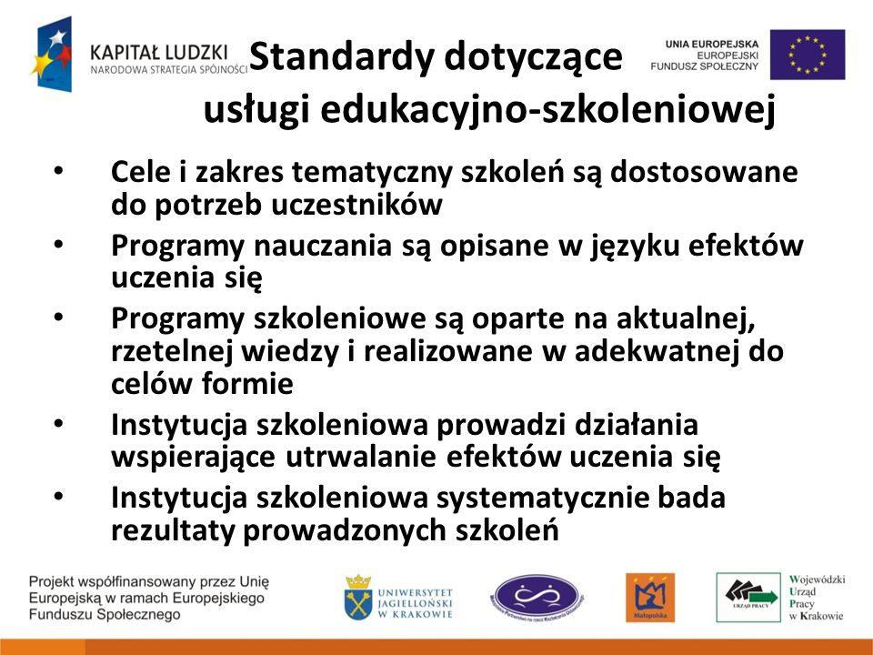 Standardy dotyczące usługi edukacyjno-szkoleniowej