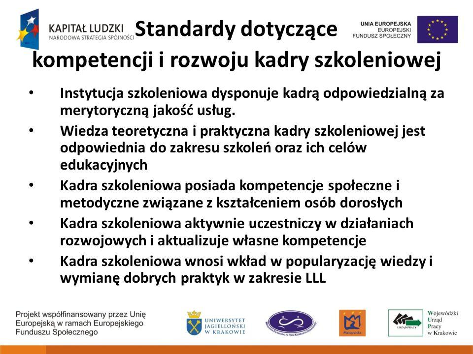 Standardy dotyczące kompetencji i rozwoju kadry szkoleniowej