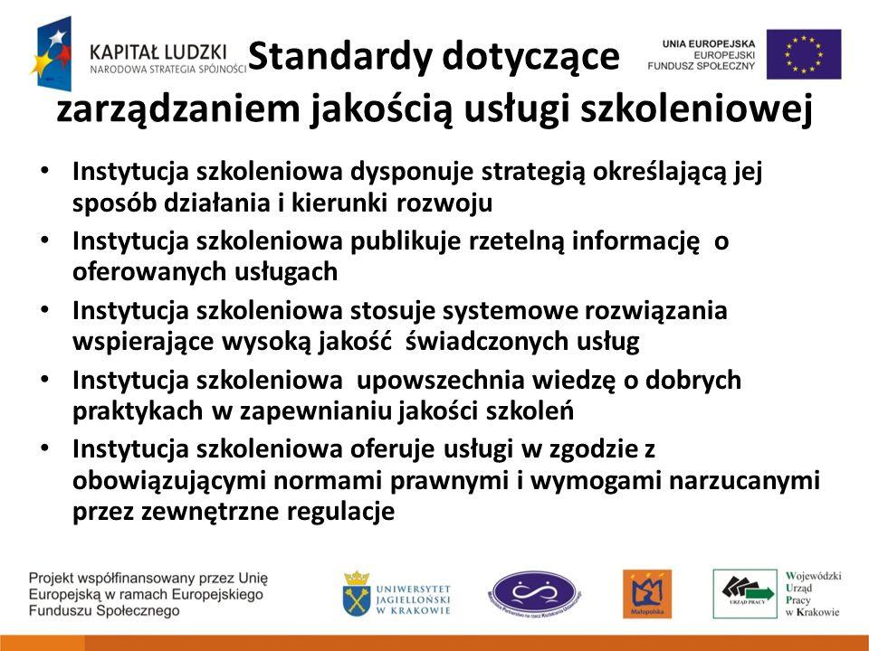 Standardy dotyczące zarządzaniem jakością usługi szkoleniowej