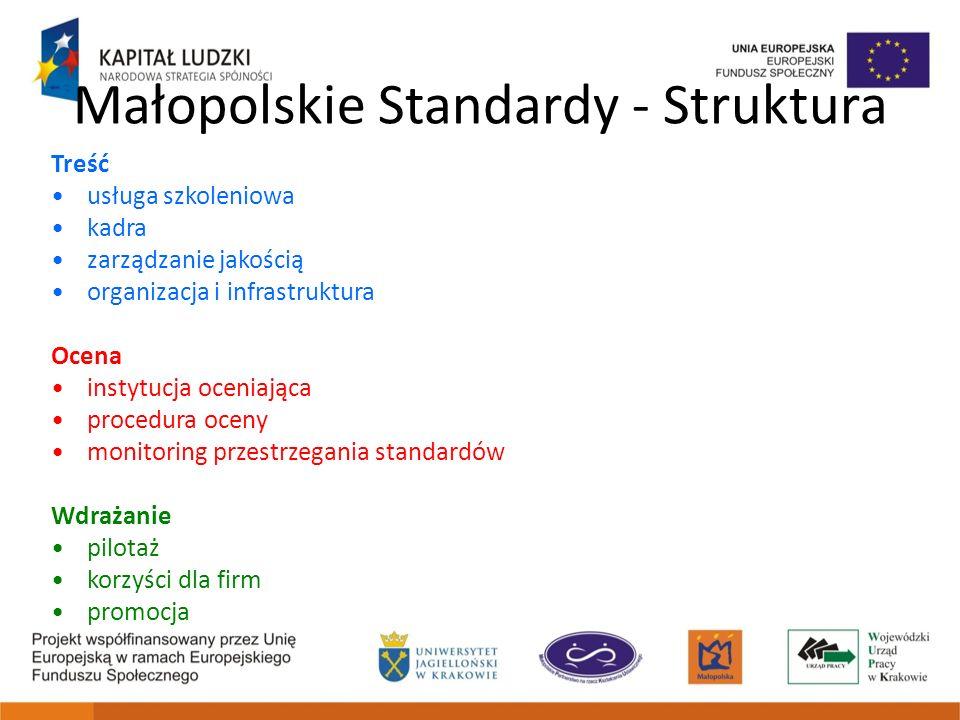 Małopolskie Standardy - Struktura