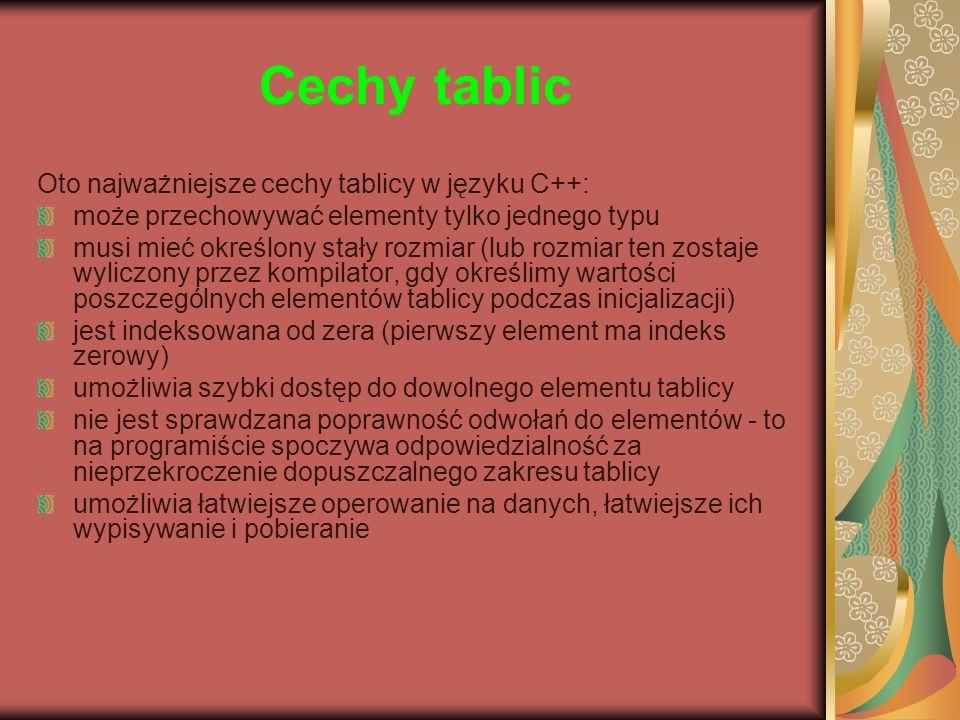 Cechy tablic Oto najważniejsze cechy tablicy w języku C++: