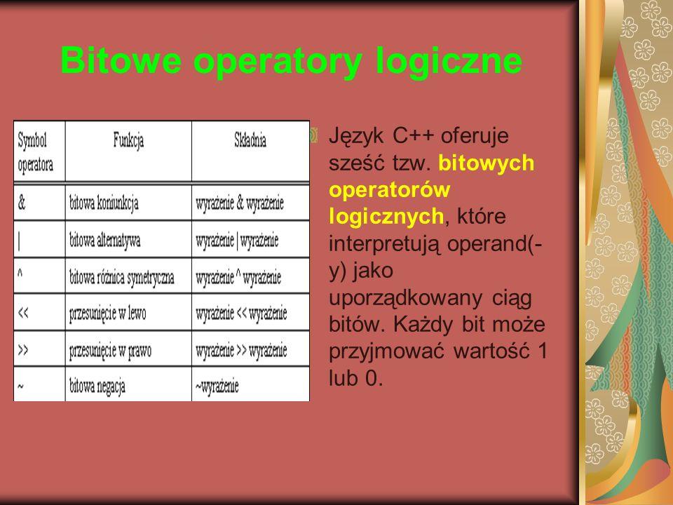 Bitowe operatory logiczne