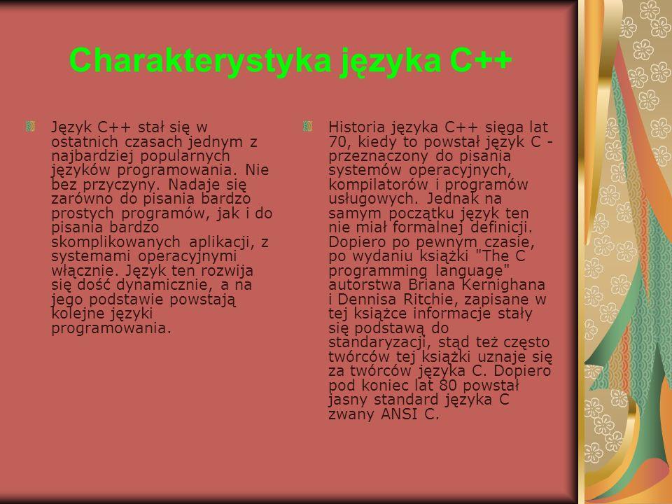 Charakterystyka języka C++