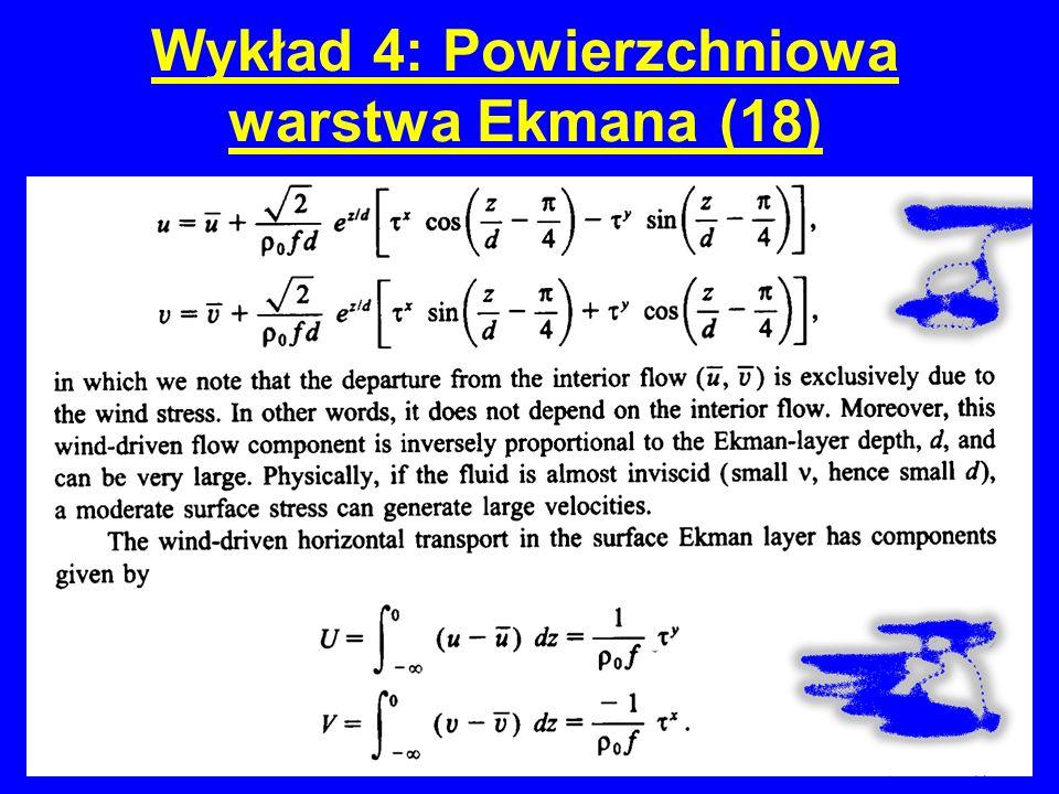 Wykład 4: Powierzchniowa warstwa Ekmana (18)
